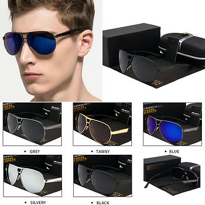 Men's Polarized Retro Outdoor Aviator Sunglasses Glasses Eyewear + Gift Box AU