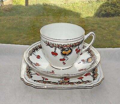 Taylor & Kent c1912 Porcelain Trio Cup Saucer Plate Oranges and Lemons 5196