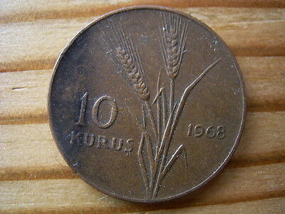 Turkey 1968  10 kurus  coin collectable.