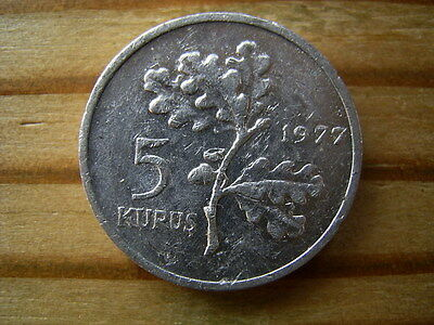 Turkey 1977  5 kurus  coin collectable.