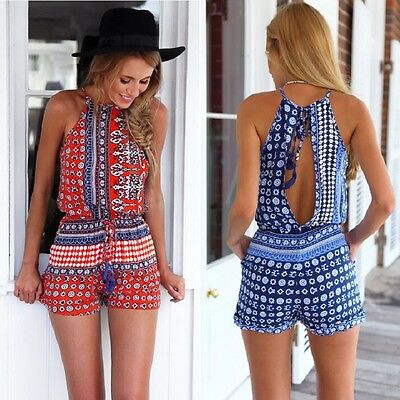 UK Womens Summer Holiday Mini Playsuit Ladies Jumpsuit Beach Backless Shorts