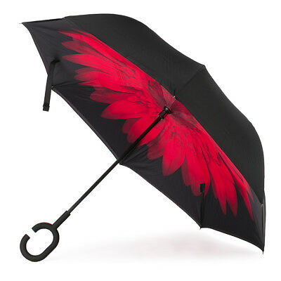 NEW Clifton Outside-In Inverted Red Flower/Black Umbrella
