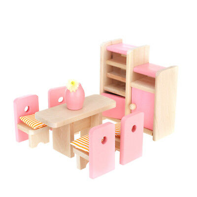 Dollhouse Furniture Wooden Dining Room Table Chair Cupboard Cabinet Set Toys
