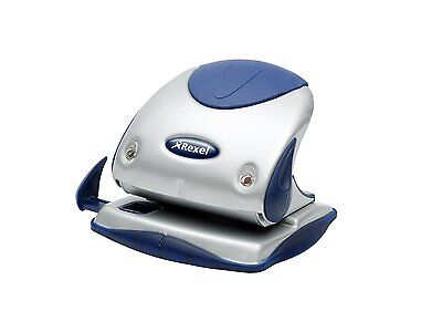 Rexel Precision P225 2 Hole Punch Silver/Blue 25 Sheet Capacity and Paper Alignm