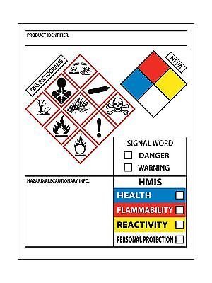 NMC Signs GHS Secondary Container Labels 250/Roll Free Shipping