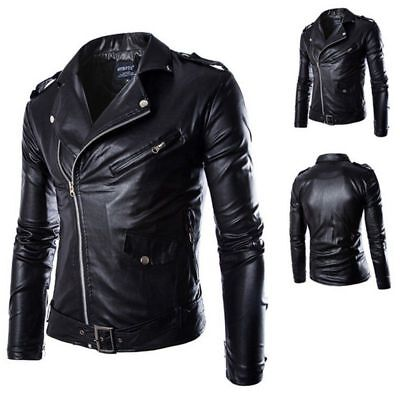 AU Men's Leather Jacket Black Slim Fit Biker Motorcycle Coat Overcoat Outwear