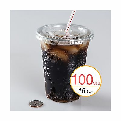 16 oz Plastic Clear Drink PET Cups with Flat Lids 100 Sets Free Shipping