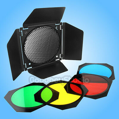 US Godox BD-04 Barn Door w/ 4 Color Filter Honeycomb Grid for Standard Reflector