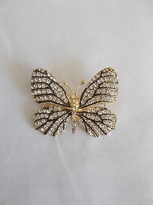 Yellow Gold Plated Crystal Rhinestone Butterfly Brooch Pin
