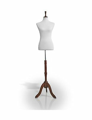 Female Jersey Dress Form Mannequin Body Torso W/ Wooden Tripod ... Free Shipping