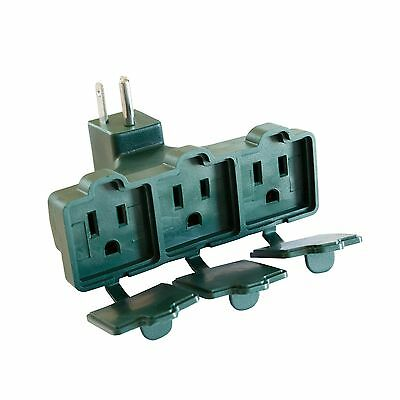 Grounded 3 Outlet Adapter - Green 3 Way Plug Electrical Wall Ta... Free Shipping