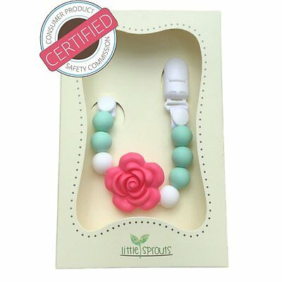 2 in 1 Pacifier Clip - Teething Baby Silicone Beads with Unique Shapes - Girls -