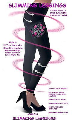 Womens Seamless Cellulite Slimming Full Length Support Leggings (Black)