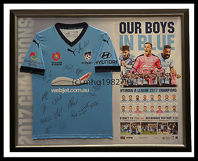 Sydney F.C. 2017 A-League Champions Official Signed Team Jersey Framed + COA