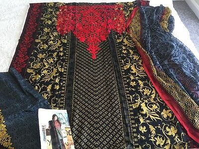 Pakistani designer LAWN Embrioded COLLECTION UN-STITCHED SHALWAR KAMEEZ SUIT