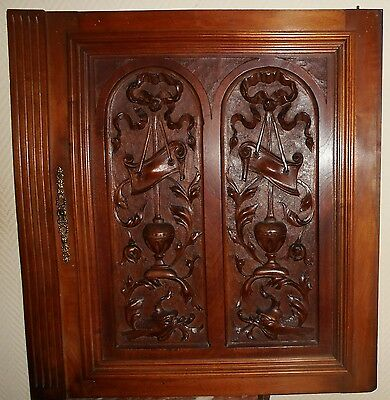French Antique Carved Wood Panel Gothic Walnut Griffin or Dolphin (2/2)