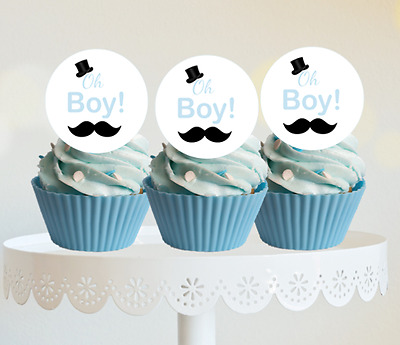 #416. oh boy! edible wafer cake cupcake toppers baby shower boy blue gold