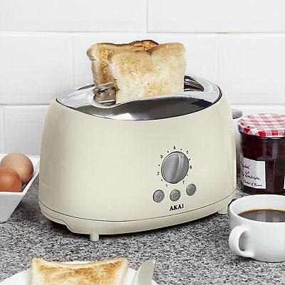 Akai 2 Slice Cream Reheat Defrost Variable Browning Control Loaf Bread Toaster