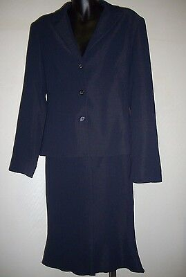 EVENTS BLUE CORPORATE 2 PIECE TAYLORED JACKET WITH PEPLUM SKIRT SUIT size 12