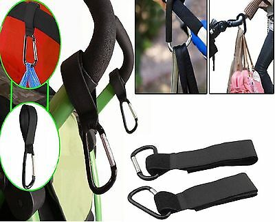 2 X Buggy Clips Mummy Universal Pram Pushchair Shopping Bag Hooks Straps x 2