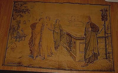 "VTG Large TAPESTRY, DANTE ET BEATRICE, 58"" x 40"", EUROPEAN, EARLY 20th CENTURY"