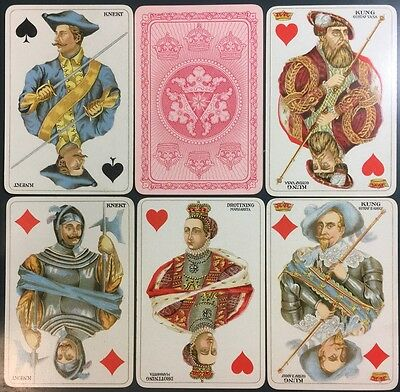 1928 Royal Empire Courts Sweden Poker Playing Cards 52/52 No Indices + Tax Stamp