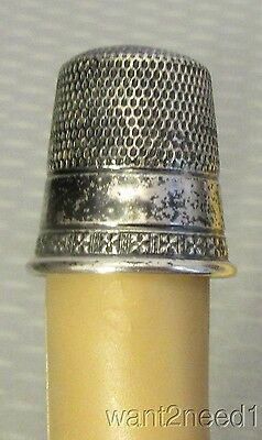 antique SIMONS STERLING SILVER THIMBLE 11 X block pattern band