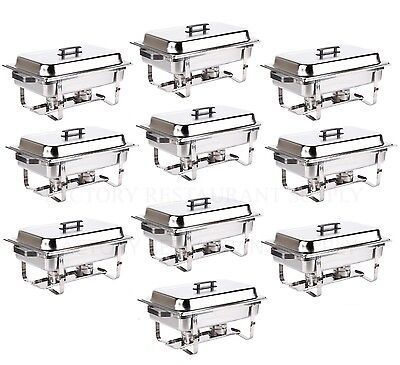 10 Pack Catering Stainless Steel Chafer Chafing Dish Sets 8 Qt Full Size Buffet
