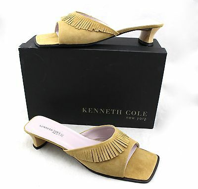 97436e251c2d KENNETH COLE Street Sweeper Tan Fringe Leather Sandals Slides Heels 11 New  Italy