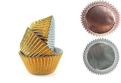 Foil Cupcake Muffin Cases Silver, Gold, Rose Gold  CHOOSE COLOUR & QUANTITY