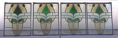 4 Antique Stained Glass Windows - Architectural Glass ~ Art Glass