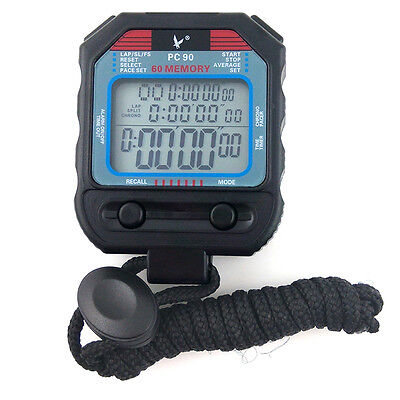 PC90 3 Rows 60 Memories Handheld Digital Sports Stopwatch for Running Swimming