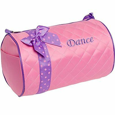 Silver Lilly Girls Dance Bag - Quilted Duffle Bag w/ Lavender Bow Light Pink