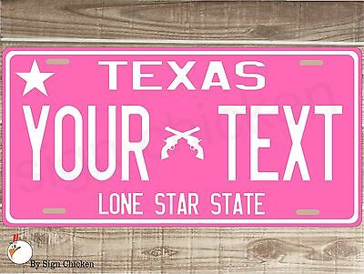 Texas License Plate, Personalized, Custom Auto Car Bike Bicycle Tag PINK, TX