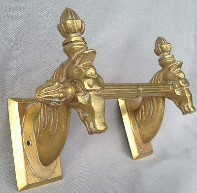Antique french towel holder made of bronze mid-1900's Empire style horses