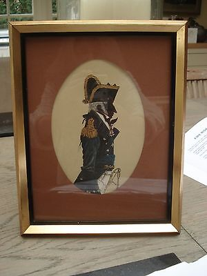 antique framed silhouette print captain undress uniform 1795 -1812 engraving
