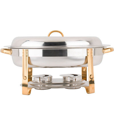 Deluxe 6 Qt Gold Accent Stainless Steel Oval Chafer Chafing Dish Set Full Size