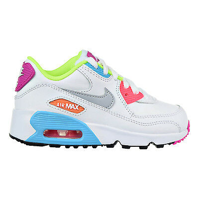Nike Air Max 90 Leather Little Kid (PS) Shoes White/Wolf Grey/Blue 833377-102