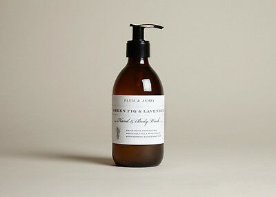 300ml Green Fig & Lavender Hand & Body Wash Plum & Ashby Apothecary style bottle
