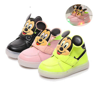 Very Cute Solid Color Mickey Mouse Baby Toddler Kids Led Lights Shoes UNISEX NEW