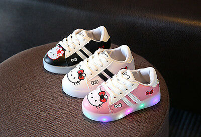 NEW HOT Very Cute Hello Kitty Baby Toddler Kids Led Lights Rubber Shoes Sneakers