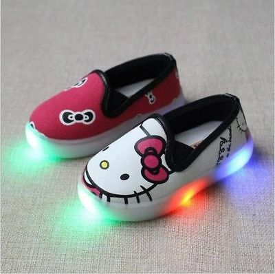 NEW HOT Very Cute Hello Kitty Baby Toddler Kids Led Lights Slip On Canvas Shoes