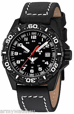 KHS Tactical Watches Red Reaper H3 Military Watch Gent's Date Buffalo Leather