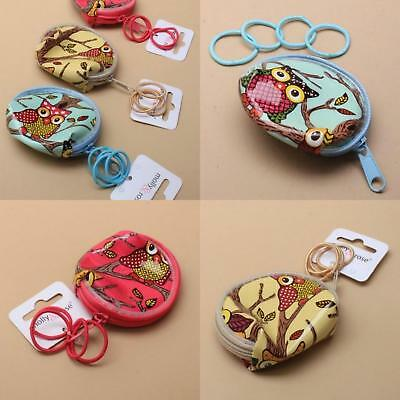 Owl Printed Round Purse With 4 Small Matching Colour Elastics