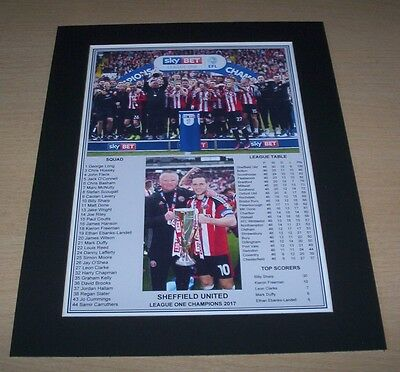Sheffield United - 2017 League One Champions Winners Print Mounted To A4