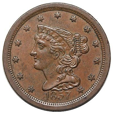 1857 Braided Hair Half Cent, C-1, nice AU