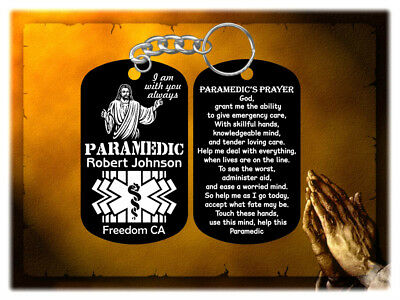Paramedic Gift with Paramedic's Prayer Keychain - Jesus Design - Personalized