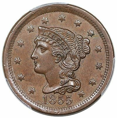 1855 Braided Hair Large Cent, Upright 5's, N-3, PCGS MS63 CAC