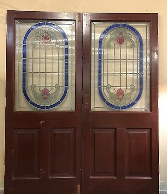 Vintage (2) English Stained Glass Adjoining Mahogany Doors Beautiful