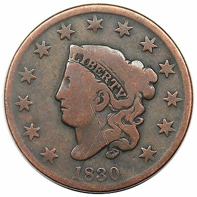 1830 Coronet Head Large Cent, scarce Medium Letters, N-6, R.4, VG-F detail